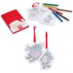 Caja Papá Noel con ceras y plantillas para pintar