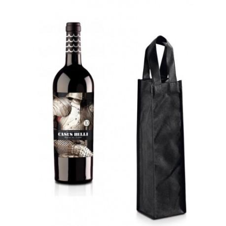 Bolsa para vino con asa non woven, para eventos, Negro