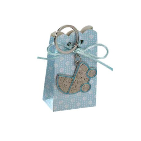 Llavero carrito bebé azul con peladillas