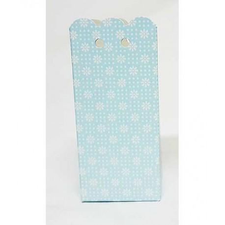 Caja rectangular decorada con florecitas, de color azul