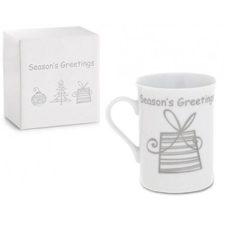 Taza regalo para navidad, diseño paquete regalo