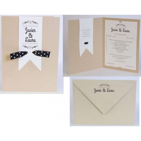 Invitación boda cartulina kraft