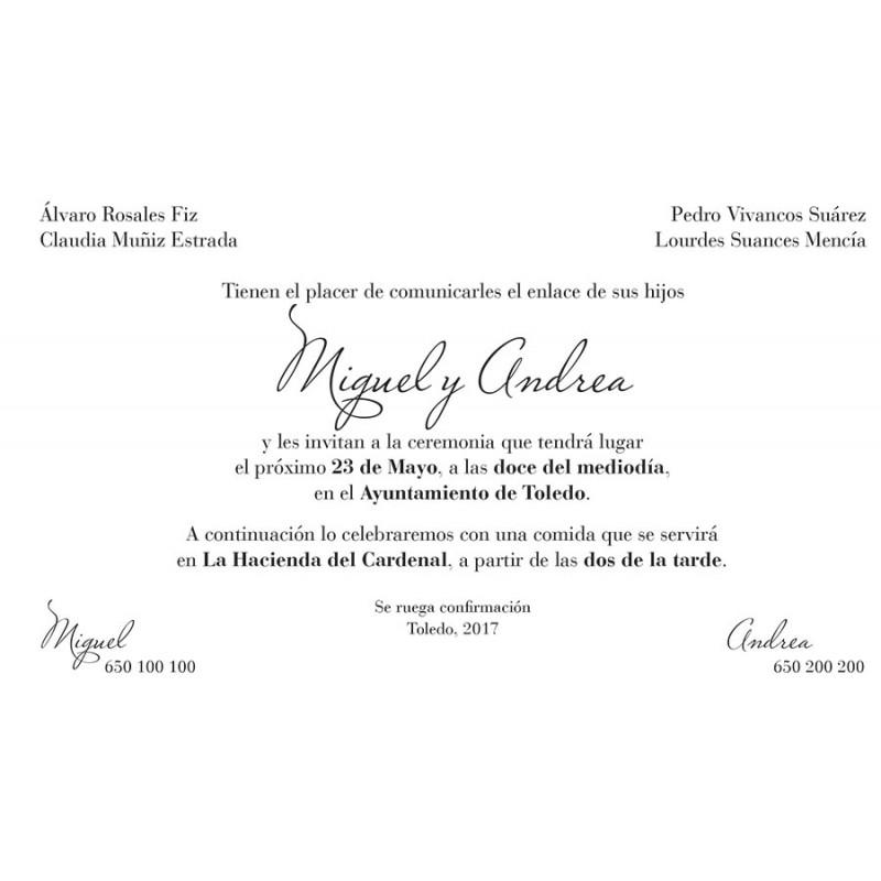 invitaci u00f3n de boda formato tarjeta en color lila