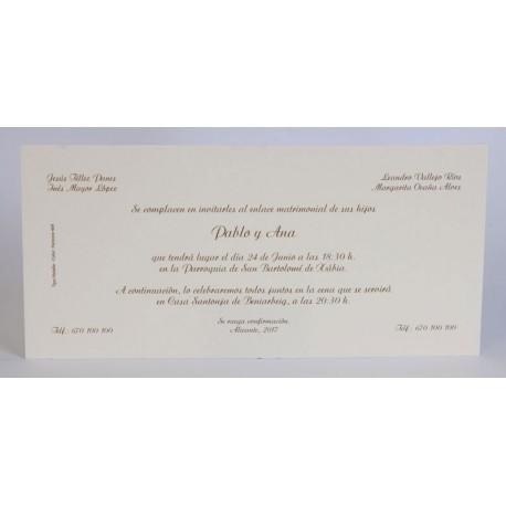 Invitación boda Edima Tradición 055