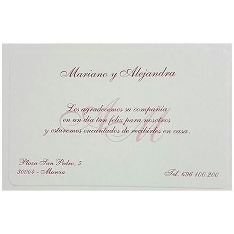 Tarjeta agradecimiento boda 324