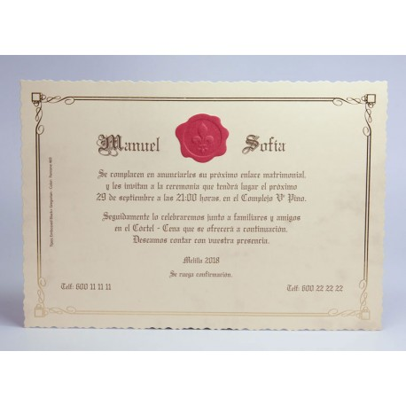 Invitación boda Edima Pergamino 733