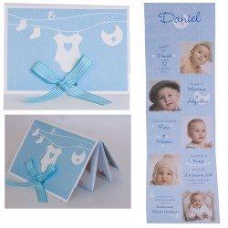 Pack 12 invitaciones para bautizo azul ropa tendida