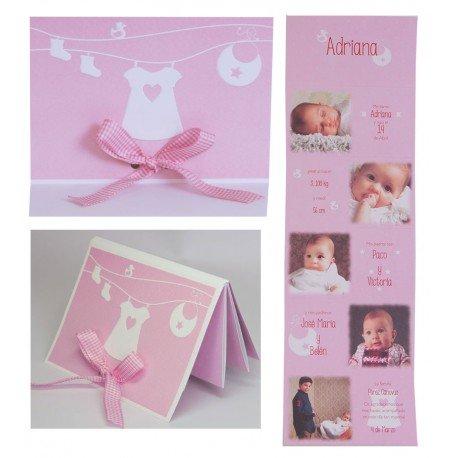 Pack invitaciones para bautizo en tonos rosas