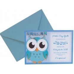Invitación Búho azul 655