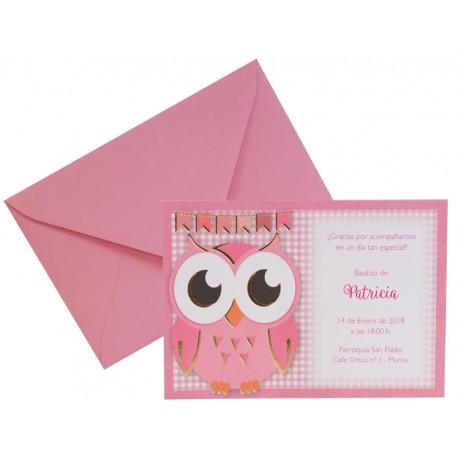 Invitación para bautizo búho rosa y sobre rosa