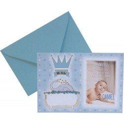 12 invitaciones de bautizo Elefante azul