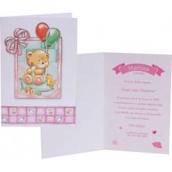 Pack 12 invitaciones de bautizo Osita bebé y 12 sobres rosas