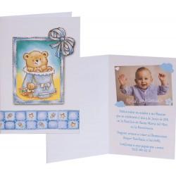 12 invitaciones y sobres para bautizo de niño con un sonriente Osito