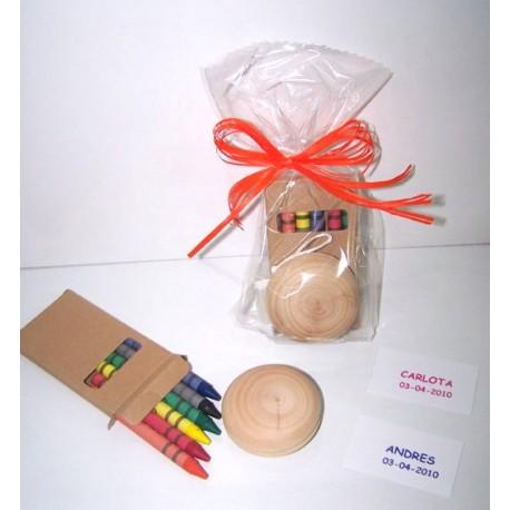 Yoyo y caja de ceras con tarjeta personalizada, detalles de cumpleaños