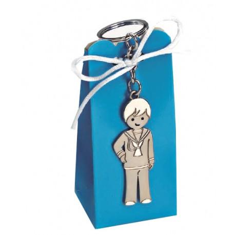 Llavero de Primera Comunión niño, brillo/mate, con peladillas y tarjeta personalizada
