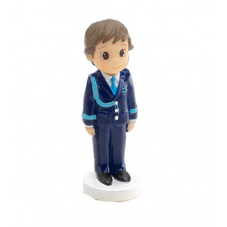 Figurita niño Comunión con corbata azul