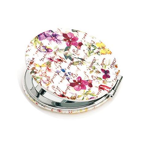 Espejo doble, forrado con símil piel y estampado con flores