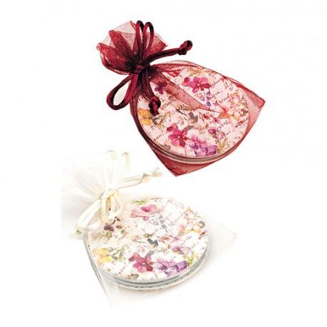 Espejo doble forrado en símil piel, estampado florecitas y decorado