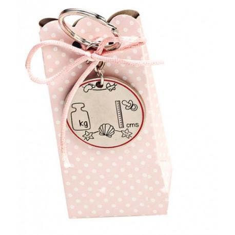 Llavero metal para datos del bebé rosa con peladillas