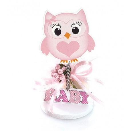 Figura búho rosa con pinza, decorada con un lazo y con peladillas