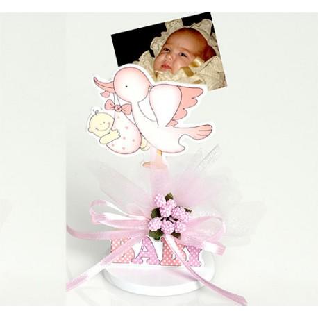 Clip sujeta fotos figura de madera bebés rosa con pic peladillas