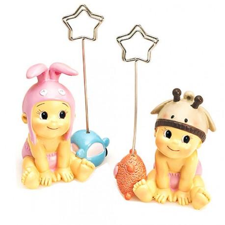 Figura con clip Portafotos niña bebé con gorrito