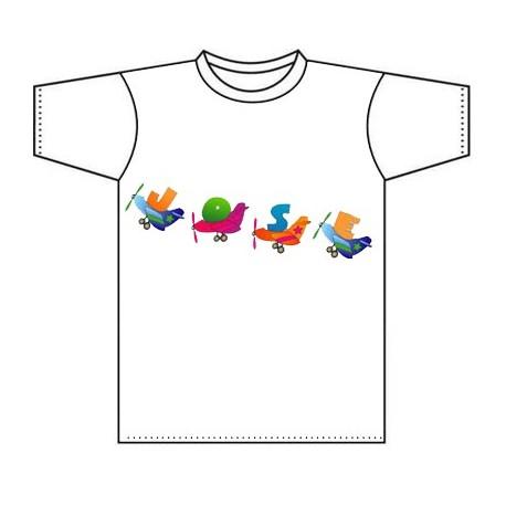 Camiseta para niños personalizada con el nombre y aeroplanos