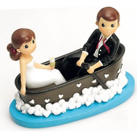 Figura para pastel de boda novios en barca, figuras graciosas