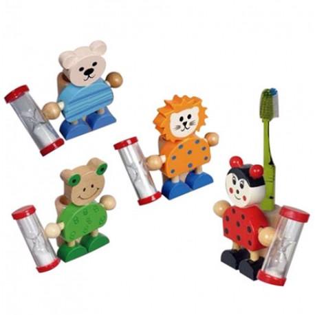 Porta cepillo de dientes infantil animalitos con reloj de arena. 4 modelos