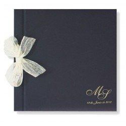 Libro de firmas boda Azul Marino con lazo