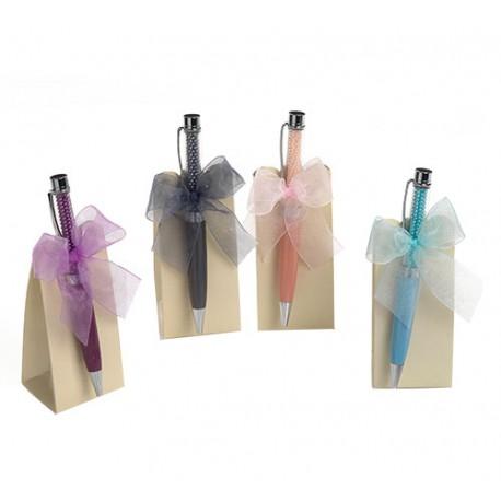 Bolígrafo con perlitas presentado con caja y caramelos plateados