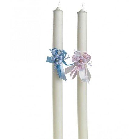 Círio Bautismo de color blanco decorado con pic vichy