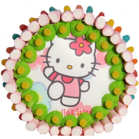 Tarta de chuches y oblea de Hello Kitty
