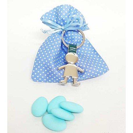 Llavero de metal, silueta niño en bolsa azul, con topos, y peladillas
