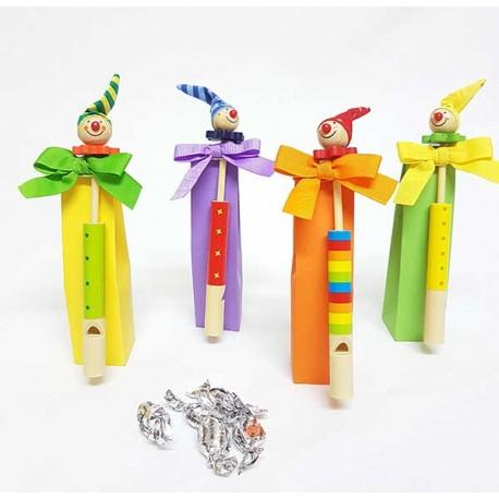 Silbato payasos en caja alta con caramelos