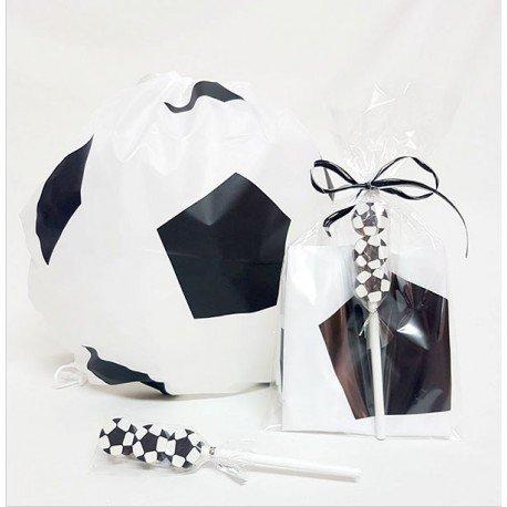 Mochila balón con lápiz y gomas con forma de balón de fútbol