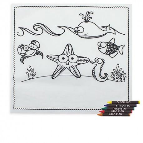 Mantel diseño marino con 5 ceras para colorear