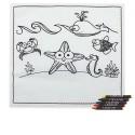 Mantel dibujos marinos con 5 ceras para colorear