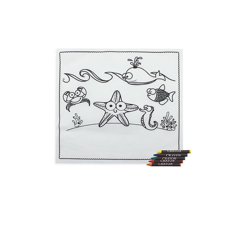 Mantel infantil para colorear con 5 ceras y dibujos marinos