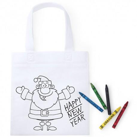Bolsa en Non Woven Papa Noel para colorear con cinco ceras