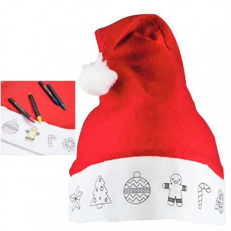 Gorro Santa Claus infantil, con ceras para colorear