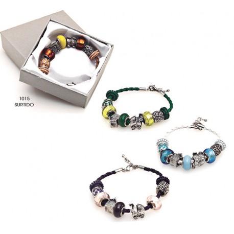 Elegante pulsera Charms de metal y cristal