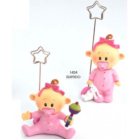 Figura portafotos niña bebé con chupete rosa
