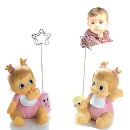 Portafotos niña bebé pijama rosa