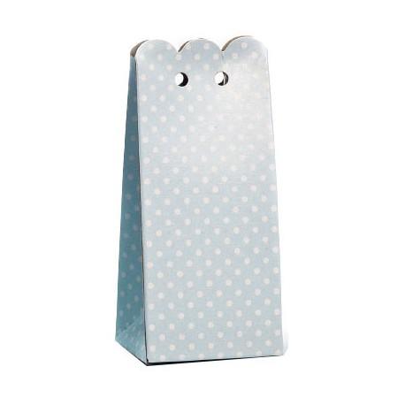 Caja rectangular decorada con topos, color azul