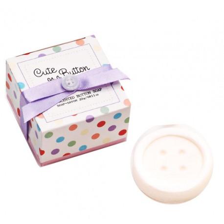 Jabón aromático con forma de botón en caja regalo