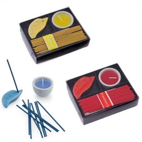 Set incienso que incluye varitas de incienso, un porta-varitas, vela y vasito