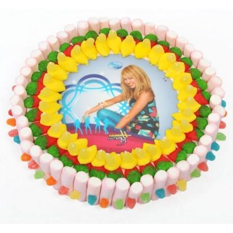 Tarta de chuche circular con oblea de Hanna Montana