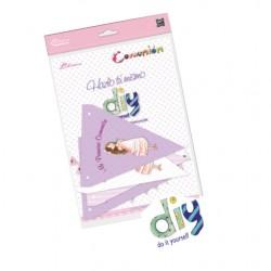 Pack 12 banderines Comunión niña vestido volantes