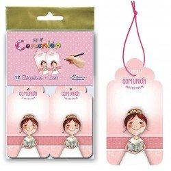 Bolsa 12 etiquetas para los detalles niña con Rosario